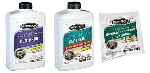 На картинке показаны средства для септиков, произведенные компанией Roetech