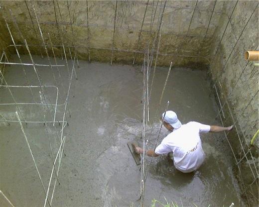 Монолитный септик из бетона на фото