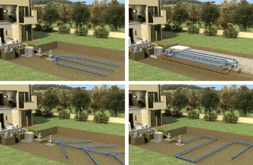 На фото показаны различные схемы оборудования поля для фильтрации