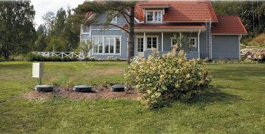 На фото показан септик, расположенный на правильном расстоянии от дома