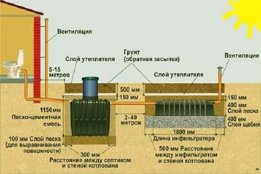 На схеме показано устройство септика Танк